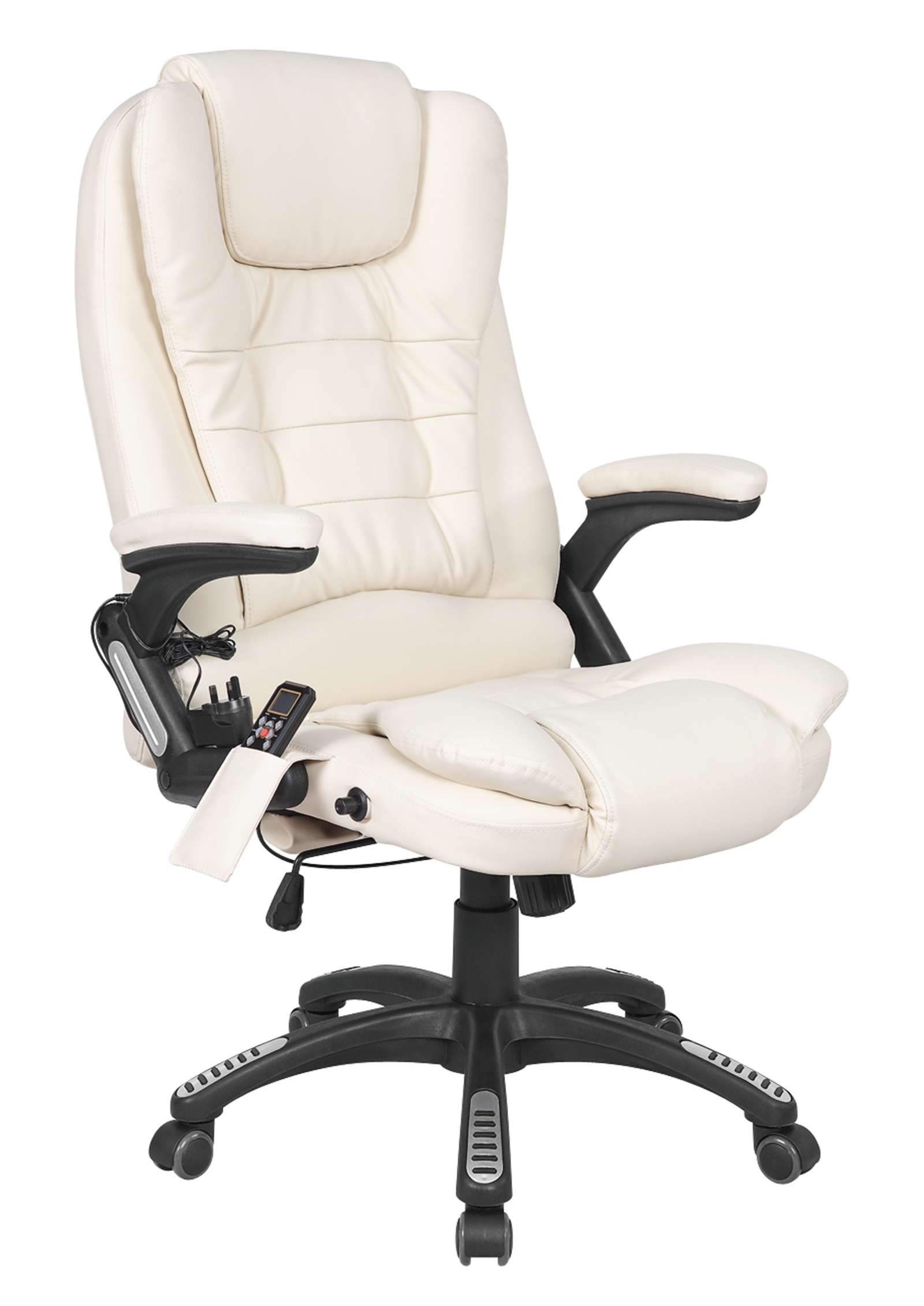 Luxury Office Chair Foxhunter Cream Luxury Leather 6 Point Massage Office