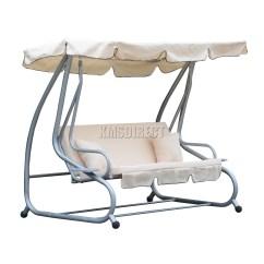 Swing Chair Metal Blue Chairs Resort By The Sea Foxhunter Beige Garden Hammock 3 Seater
