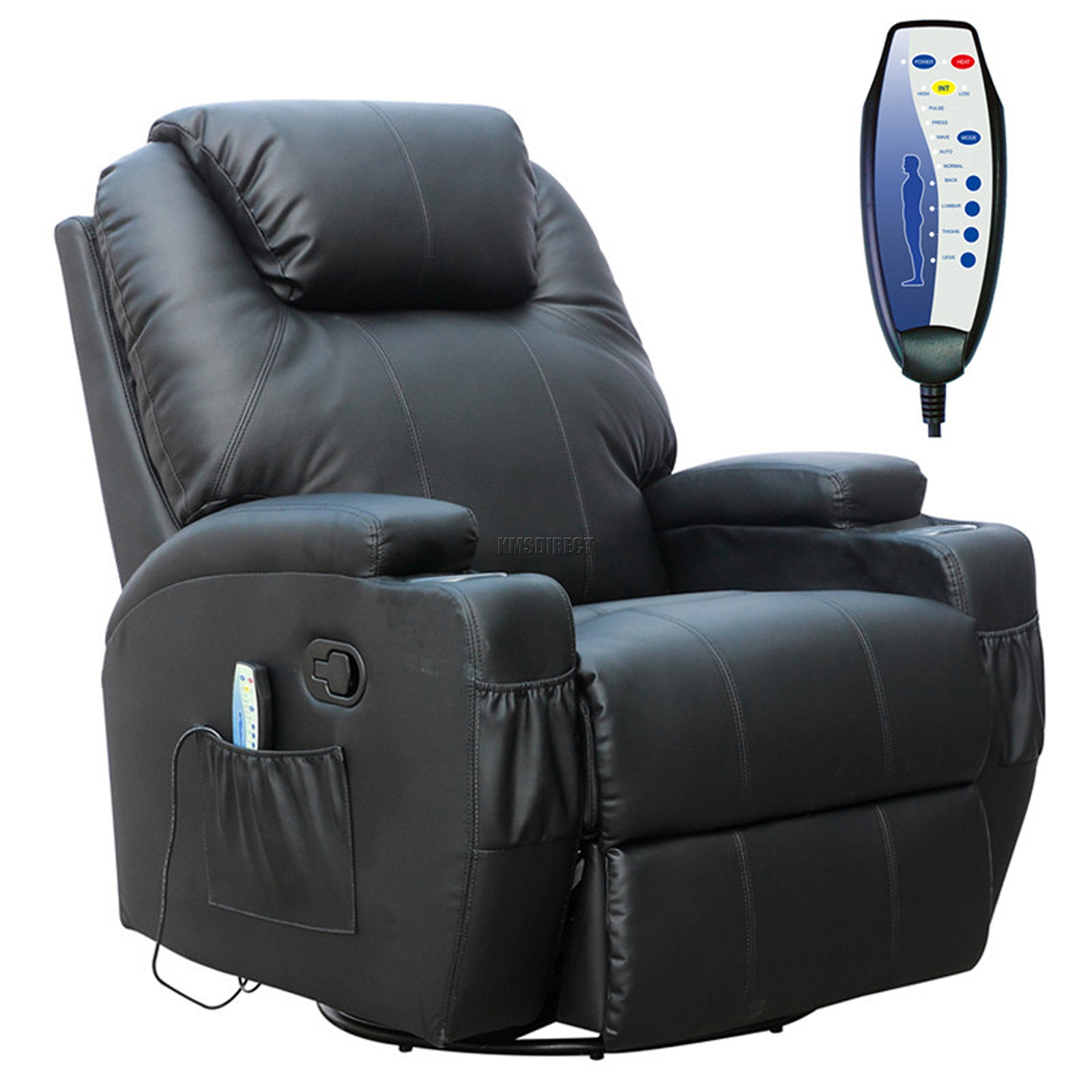 Leather Swivel Recliner Chairs Foxhunter Black Bonded Leather Massage Cinema Recliner
