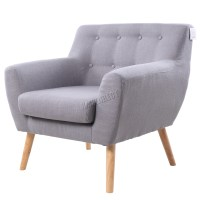 FoxHunter Linen Fabric 1 Single Seat Sofa Tub Armchair ...