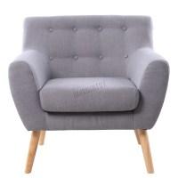 FoxHunter Linen Fabric 1 Single Seat Sofa Tub Armchair ...