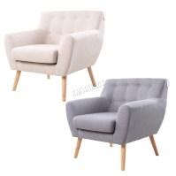 FoxHunter Linen Fabric 1 Single Seat Sofa Tub Arm chair ...