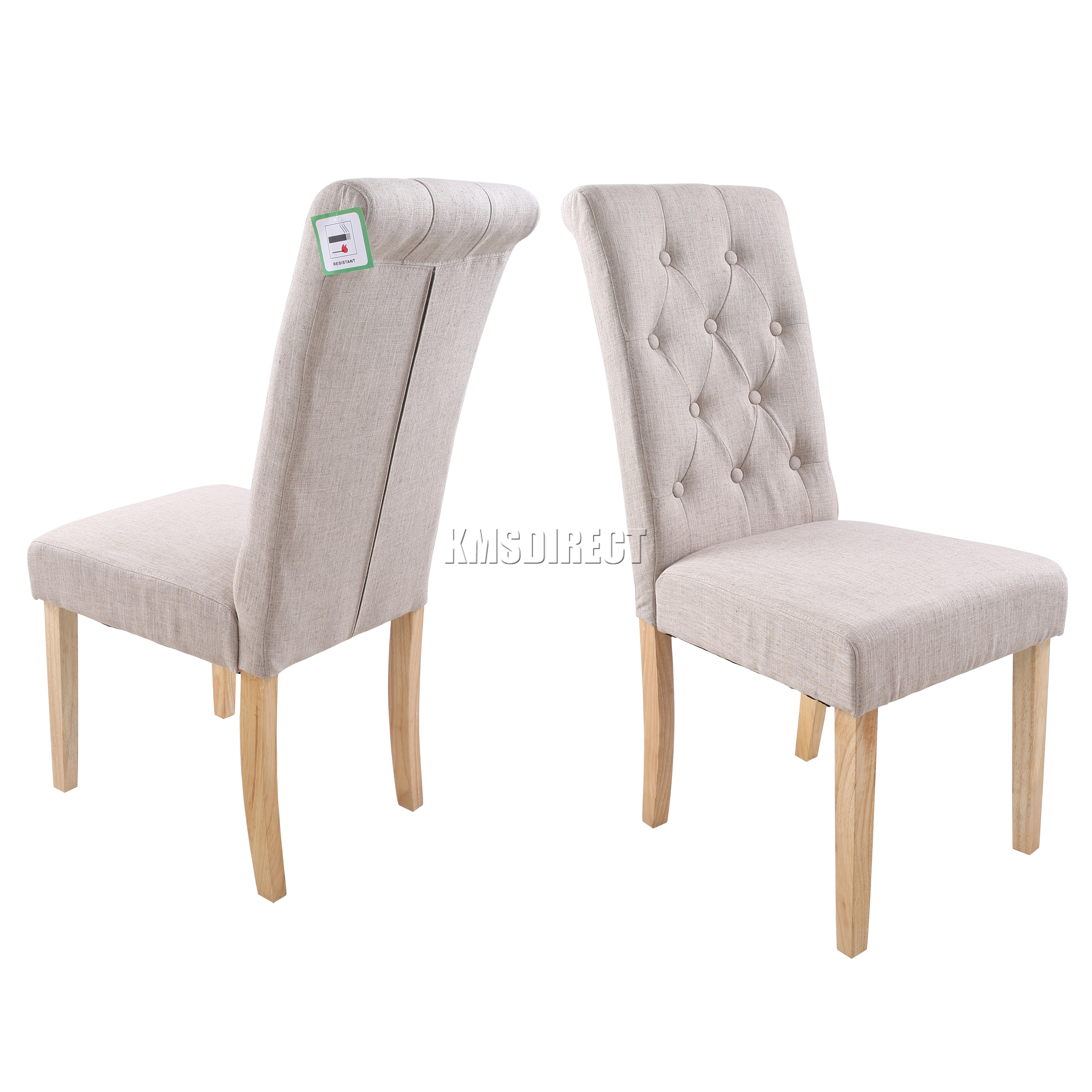 Grey Fabric High Back Dining Chairs