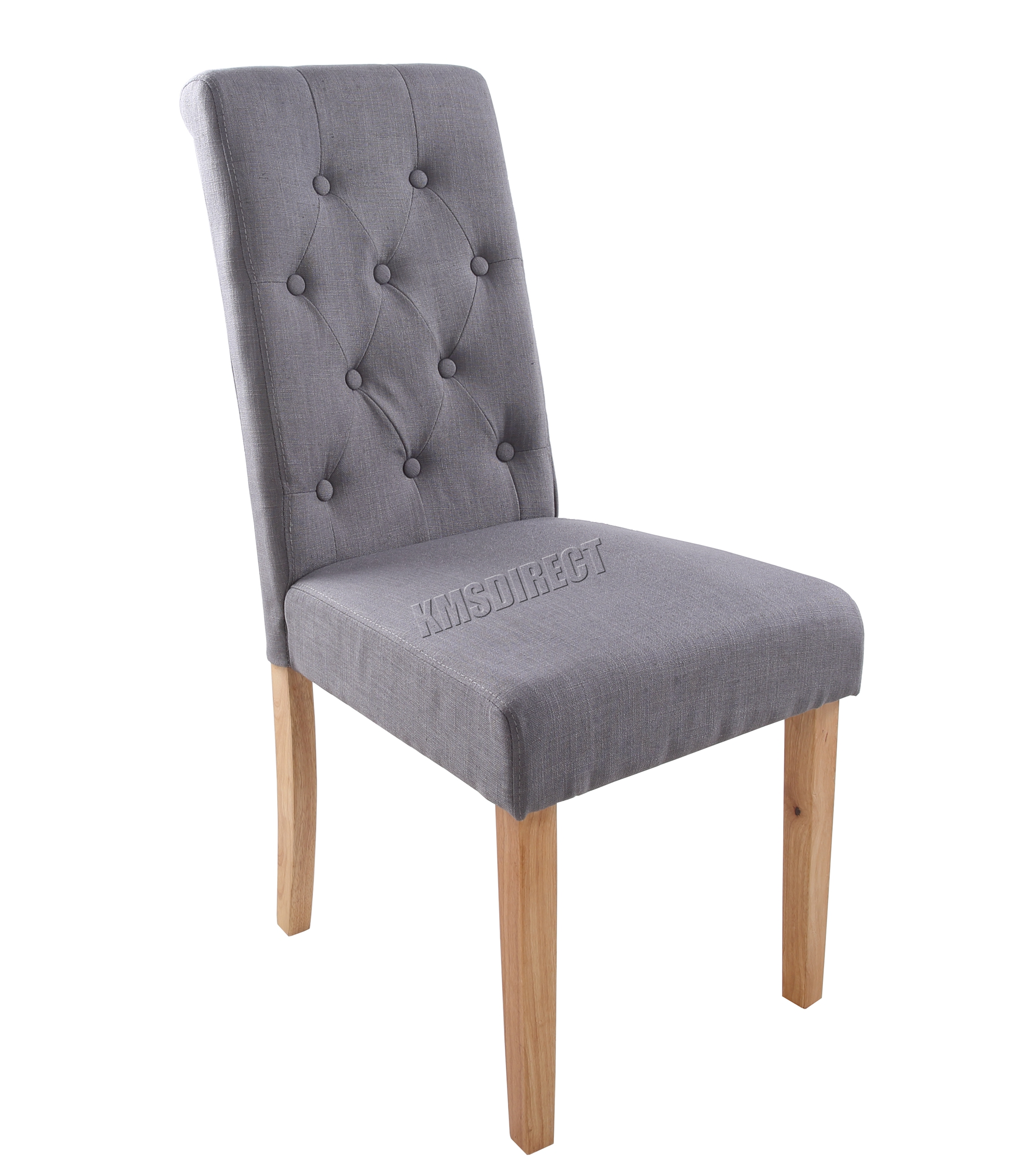 dining chairs fabric twin size pull out bed chair foxhunter grey linen scroll high back