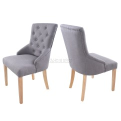 Fabric Dining Chairs Uk Dog Chair Covers Foxhunter New Grey Linen Scoop Button