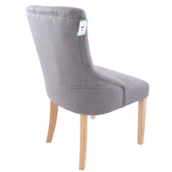 Grey Material Office Chair Hanging For Teenager Foxhunter New Linen Fabric Dining Chairs Scoop Tufted
