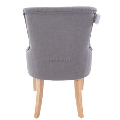 Scoop Back Dining Room Chairs Office Chair For Posture Foxhunter New Grey Linen Fabric Tufted