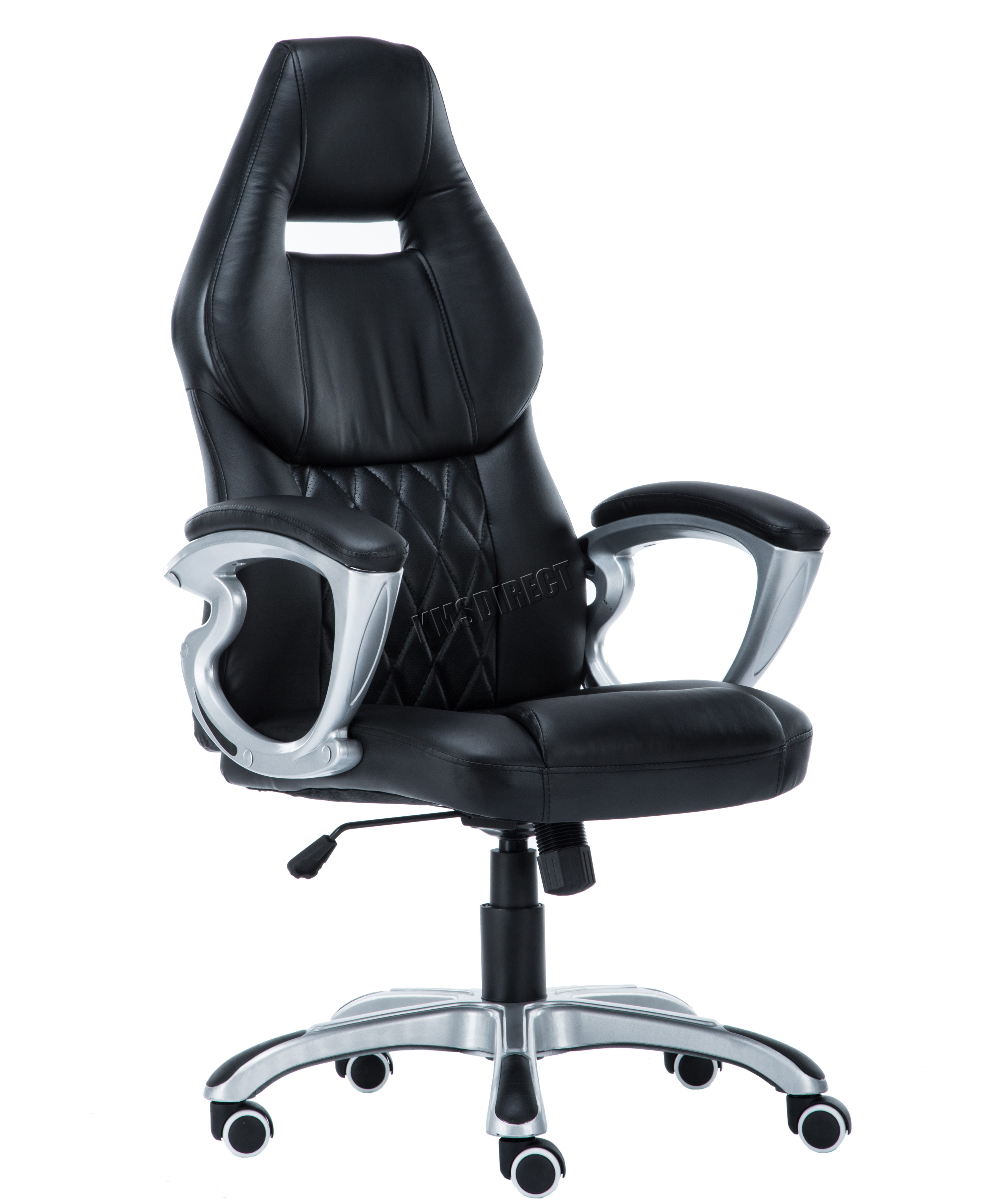 desk chair swivel no wheels wooden frames for upholstery foxhunter computer executive office pu leather