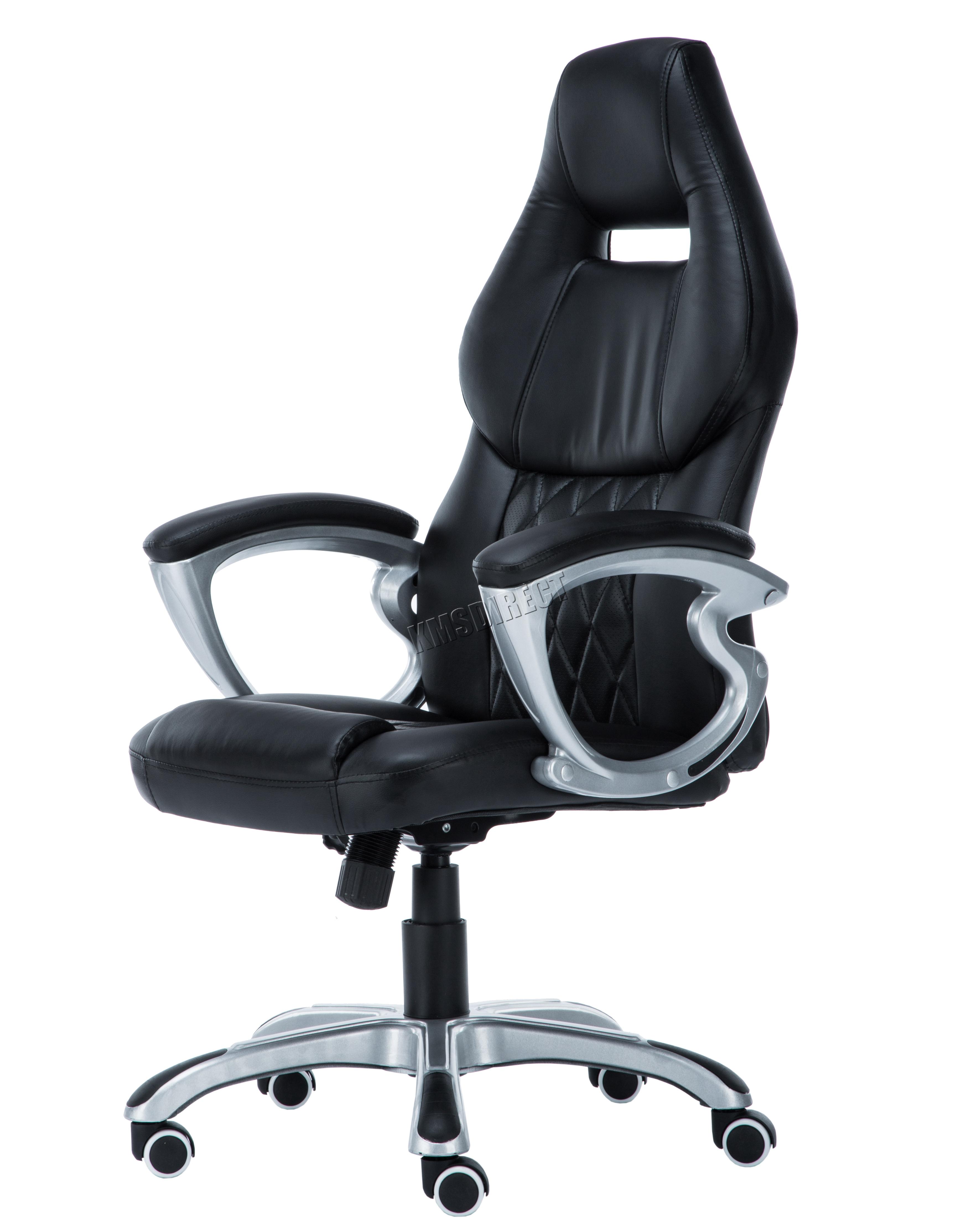 desk chair ebay uk hammock swing chairs foxhunter computer executive office pu leather