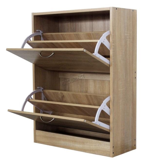 FoxHunter Wooden Shoe Storage Cabinet 2 Drawer Footwear Stand Rack Unit Cupboard   eBay
