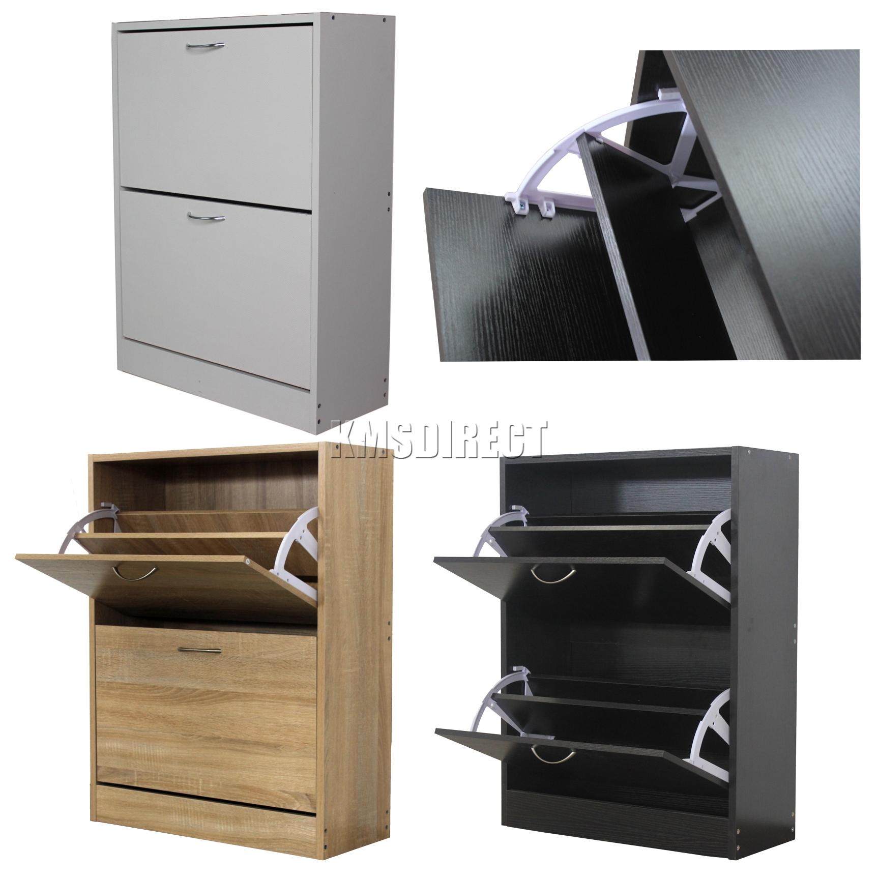 FoxHunter Wooden Shoe Storage Cabinet 2 Drawer Footwear