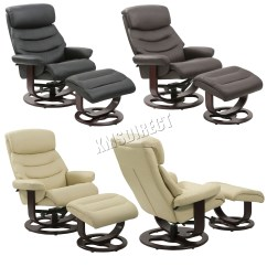 Swivel Chair Feet Office Conference Room Chairs Foxhunter Executive Recliner Pu Arm Lounger