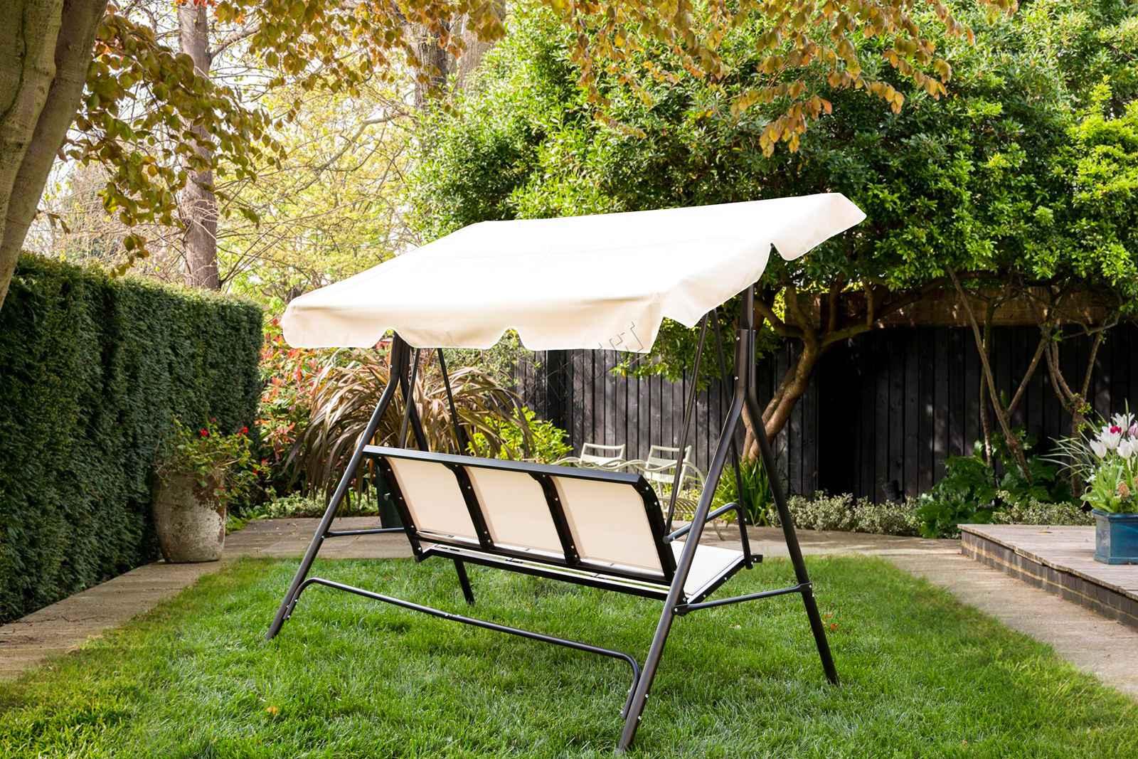 swing chair metal stool room foxhunter garden hammock 3 seater bench