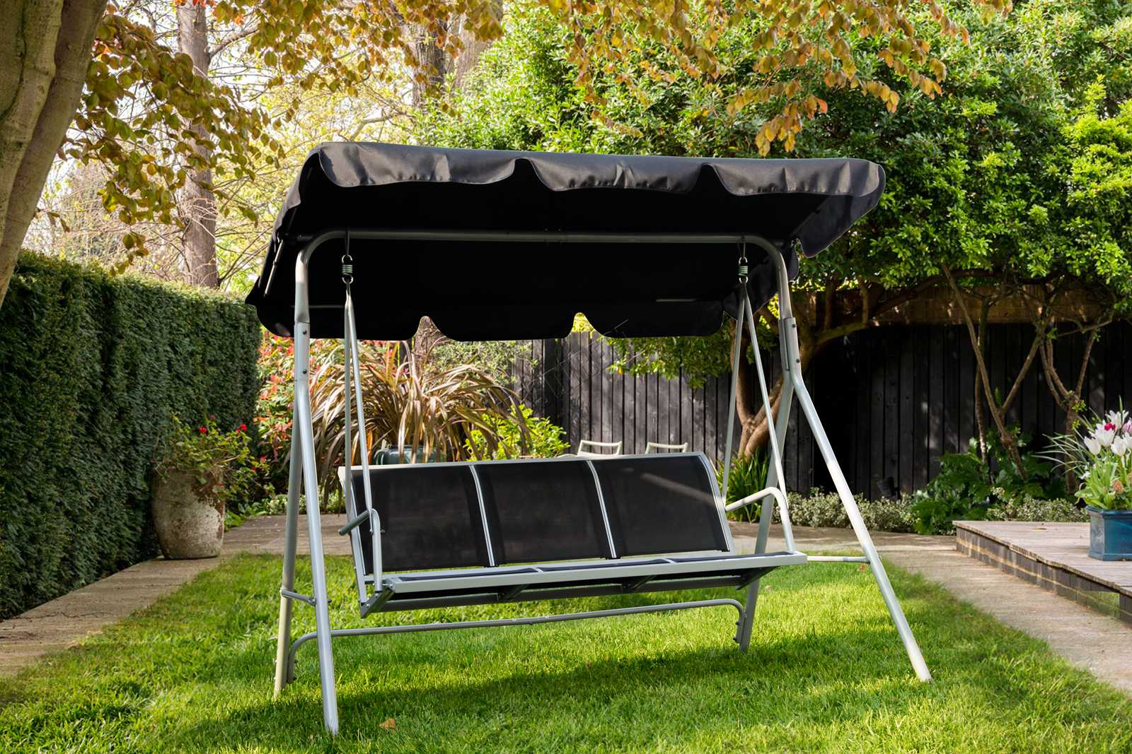 swing chair buy online commercial sofas and chairs foxhunter garden metal hammock 3 seater bench