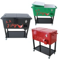 FoxHunter Patio Deck Ice Cooler Rolling Cart Outdoor 65