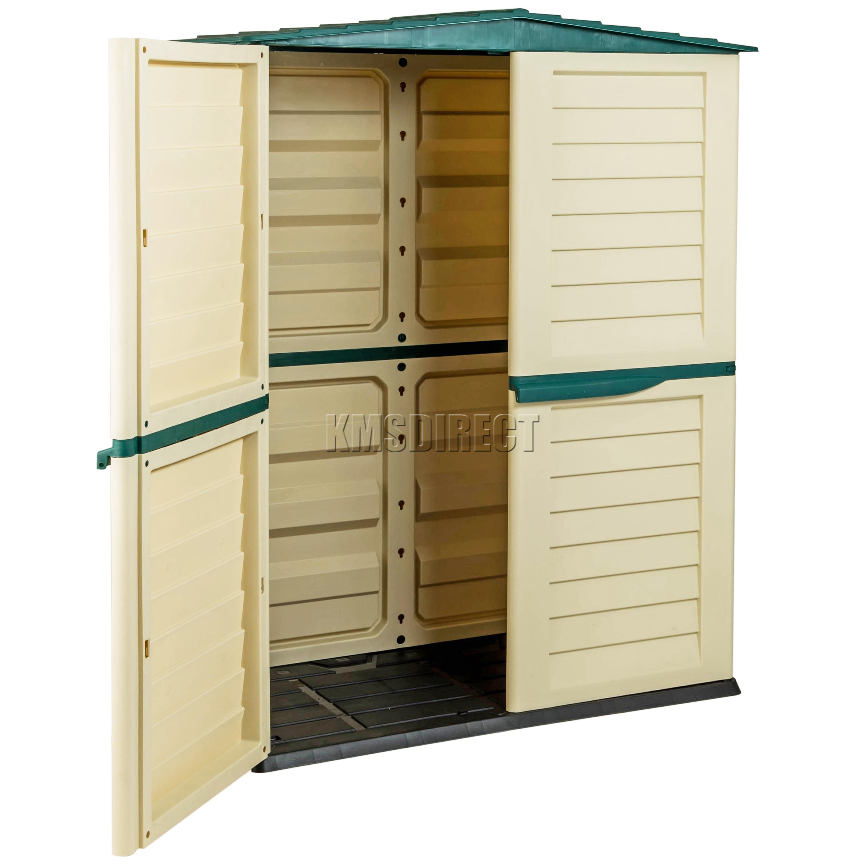 Starplast Outdoor Plastic Garden Tall Shed Box Storage Unit 37 811 Green Beige EBay