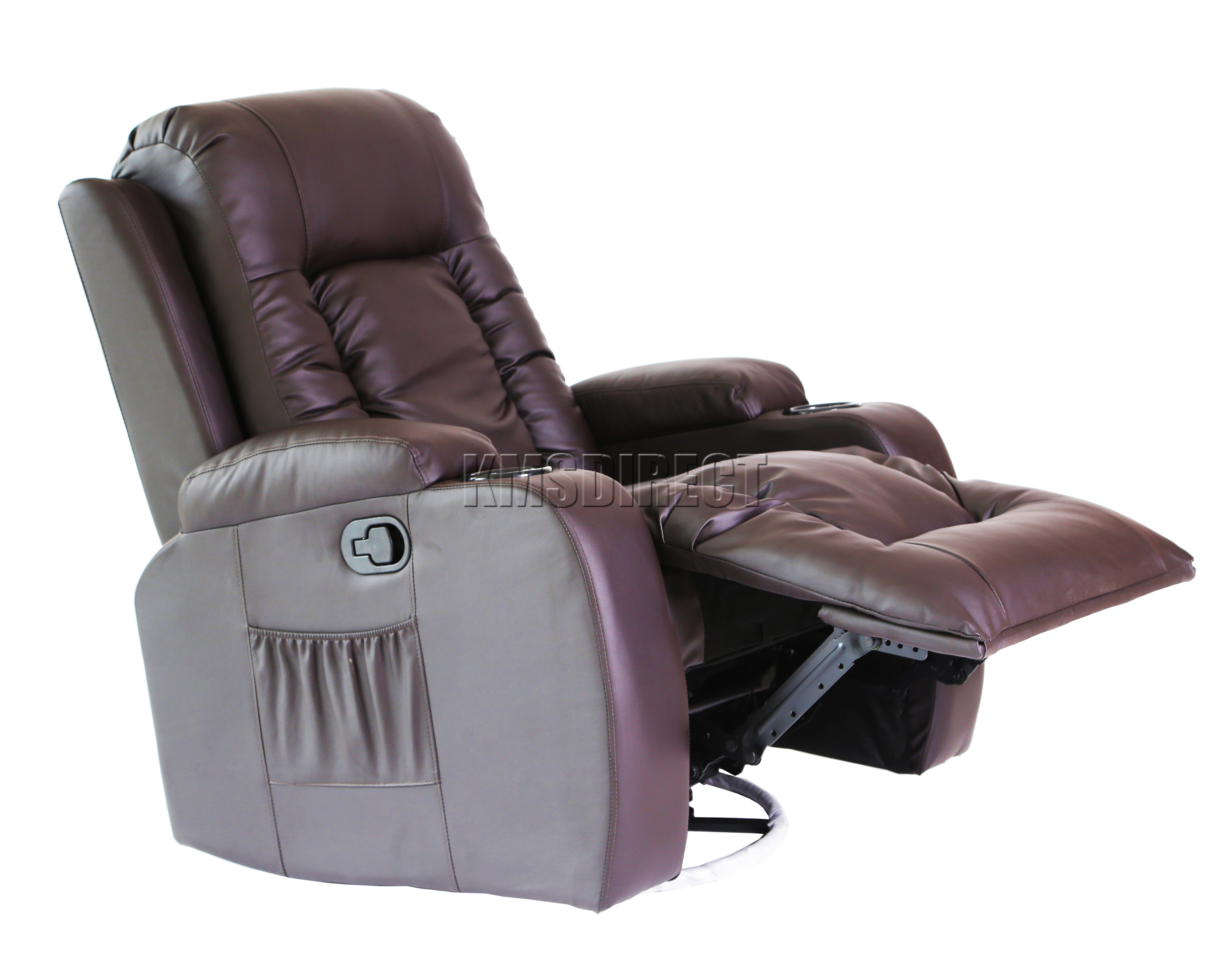 brown leather recliner sofa uk sectional sofas foxhunter massage cinema chair