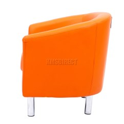 Orange Bucket Chair Futon Covers Ikea Foxhunter Modern Tub Armchair Pu Faux Leather With