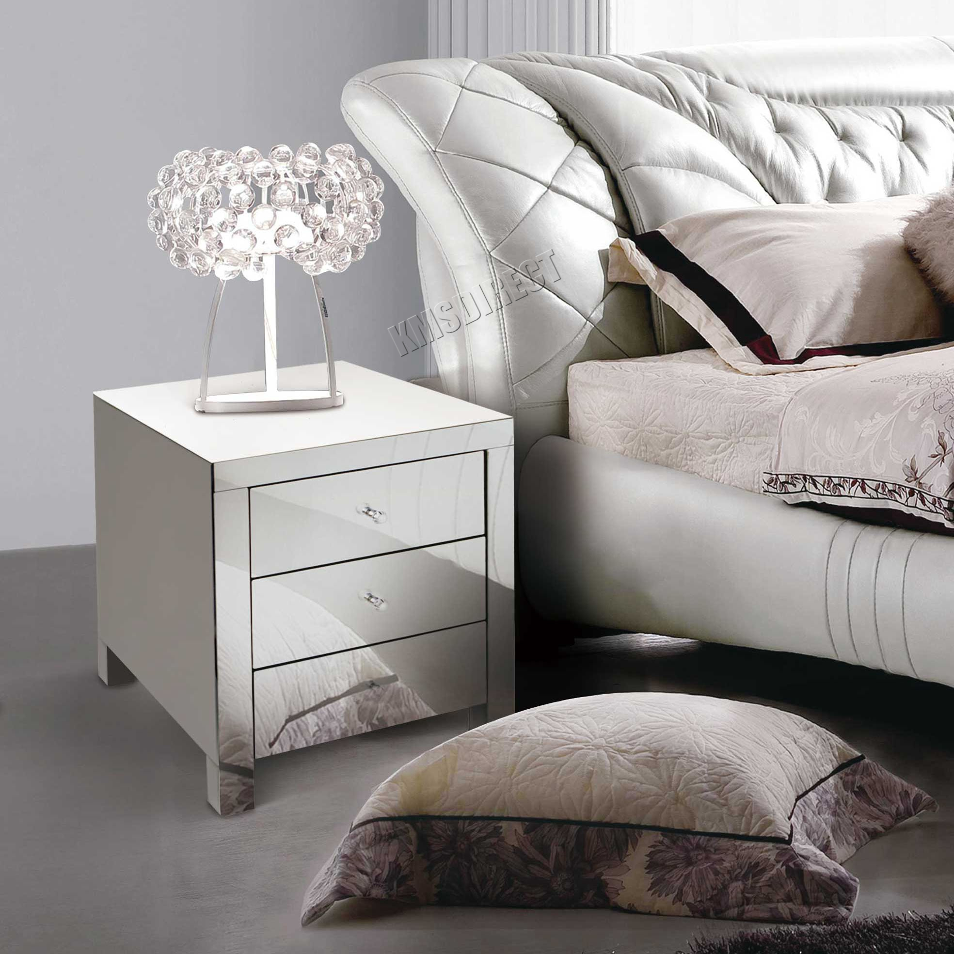 FoxHunter Mirrored Furniture Glass Bedside Cabinet Table With Drawer Bedroom New  eBay