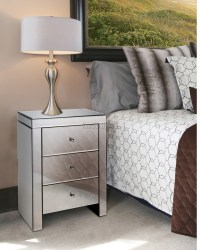FoxHunter Mirrored Furniture Glass Bedside Cabinet Table ...