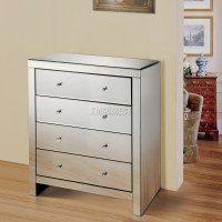 FoxHunter Mirrored Furniture Glass 4 Drawer Chest Cabinet ...