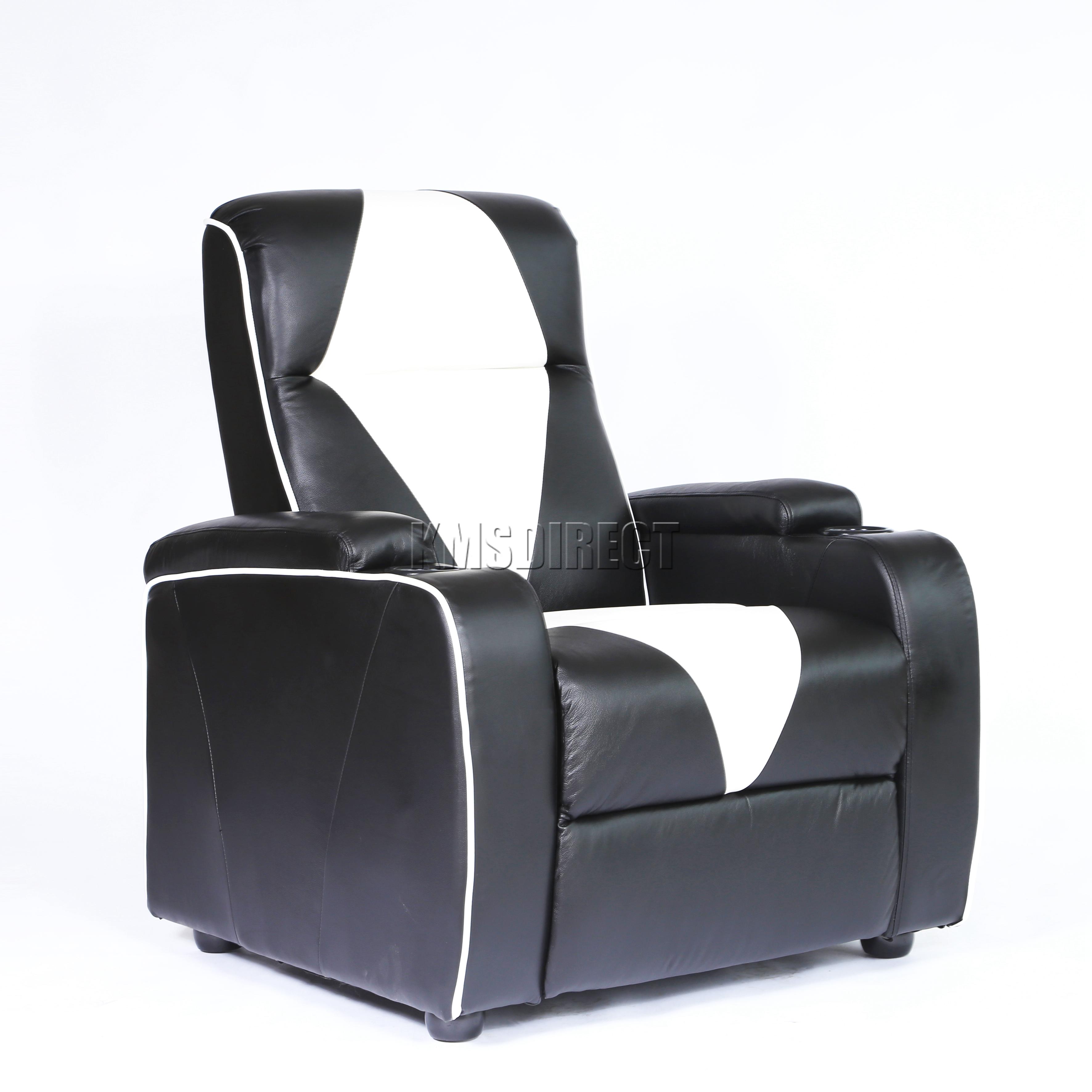 FoxHunter Leather Retro Theatre Cinema Movie Chair Sofa