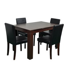 Dining Table With Leather Chairs Worlds Best Office Chair Westwood Wooden And 4 Or 6 Pu Faux