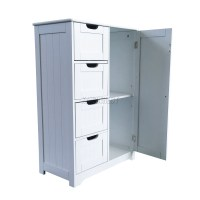 FoxHunter White Wooden 4 Drawer Bathroom Storage Cupboard ...