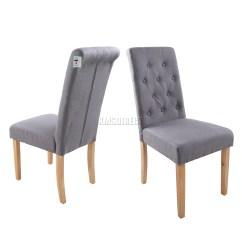Grey Dining Chairs Ergonomic Chair Attachment Foxhunter Linen Fabric Scroll High Back