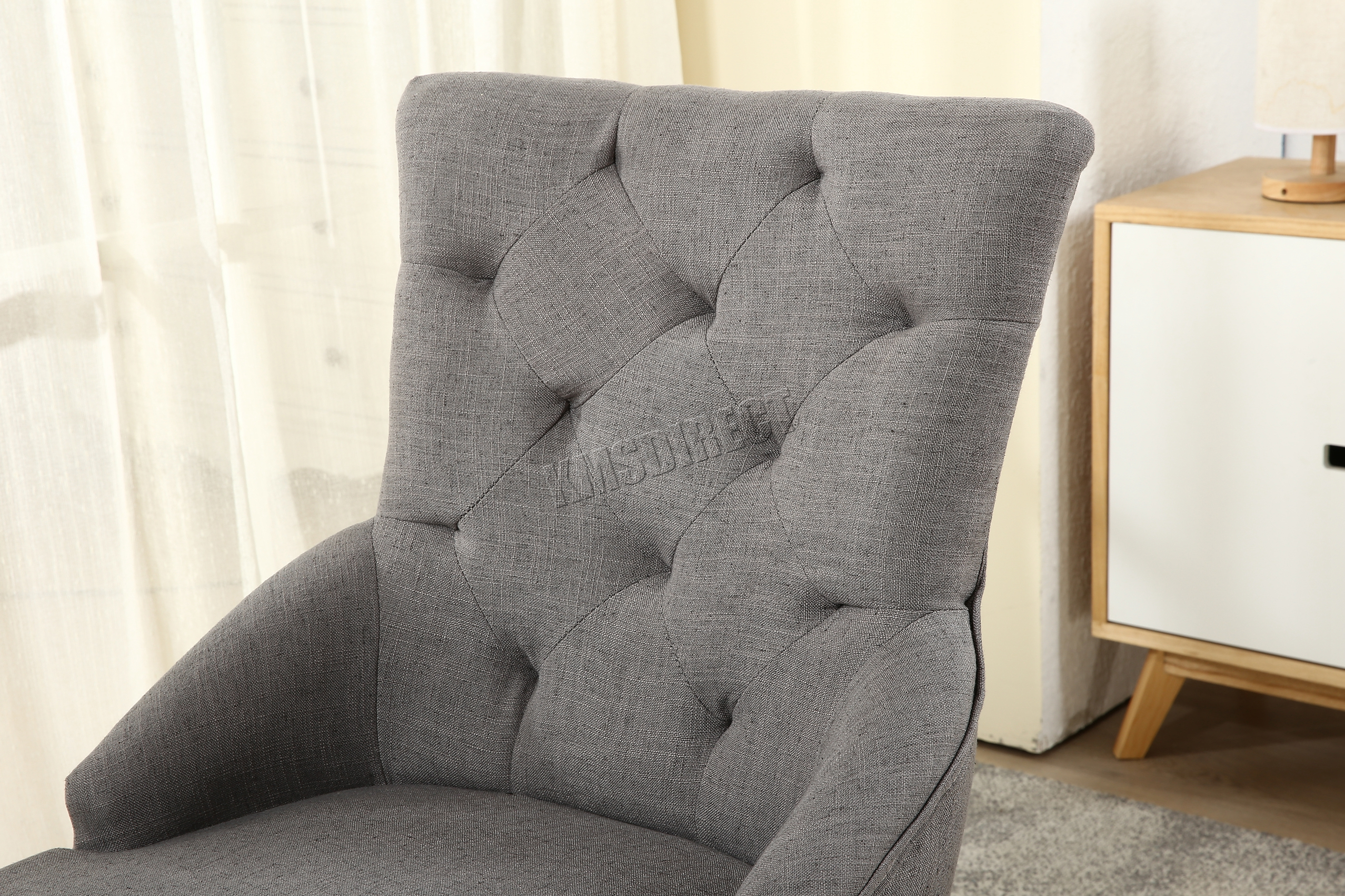 grey tufted dining chairs canada herman miller task westwood new linen fabric scoop
