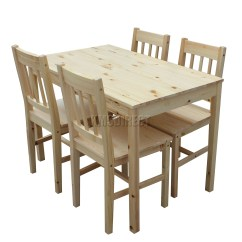 Solid Wood Kitchen Chairs Leather Foxhunter Wooden Dining Table With 4 Set