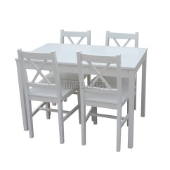 White Wooden Kitchen Chairs Handles Black Foxhunter Solid Dining Table With 4 Set