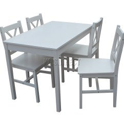 White Wooden Dining Chairs Outdoor Tanning Chair Foxhunter Solid Table With 4 Set