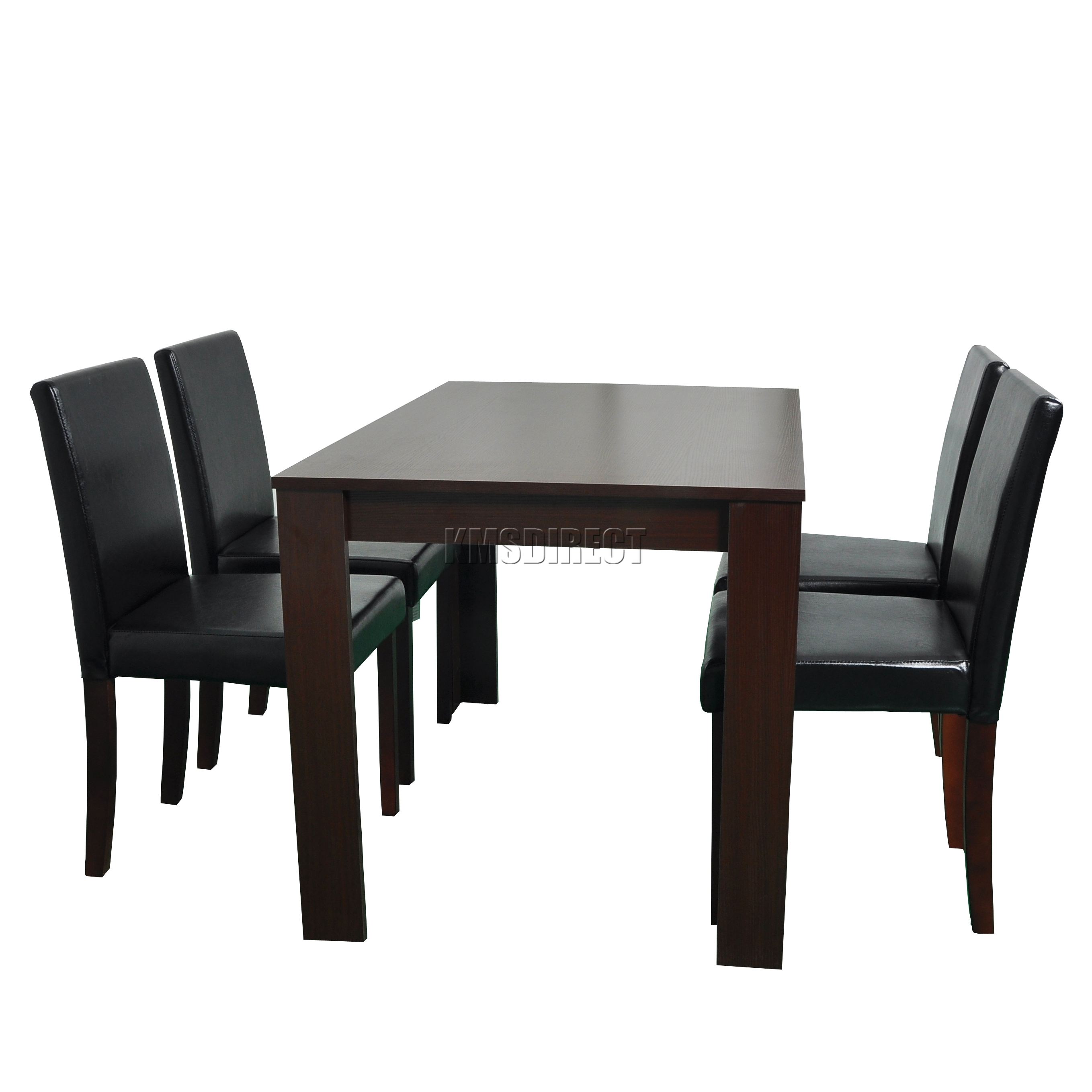 dining table with leather chairs hammock chair stands westwood wooden and 4 pu faux