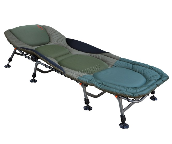 Sentinel Portable Carp Fishing Bed Chair Bedchair Camping 8 Adjule Legs Pillow Fb 022