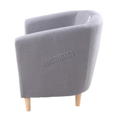 Tub Chair Grey Design Milan Foxhunter Linen Fabric Armchair Dining Living