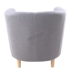 Tub Chair Grey Back Support For Office Singapore Foxhunter Linen Fabric Armchair Dining Living