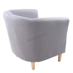 Tub Chair Grey Desk Ball Foxhunter Linen Fabric Armchair Dining Living