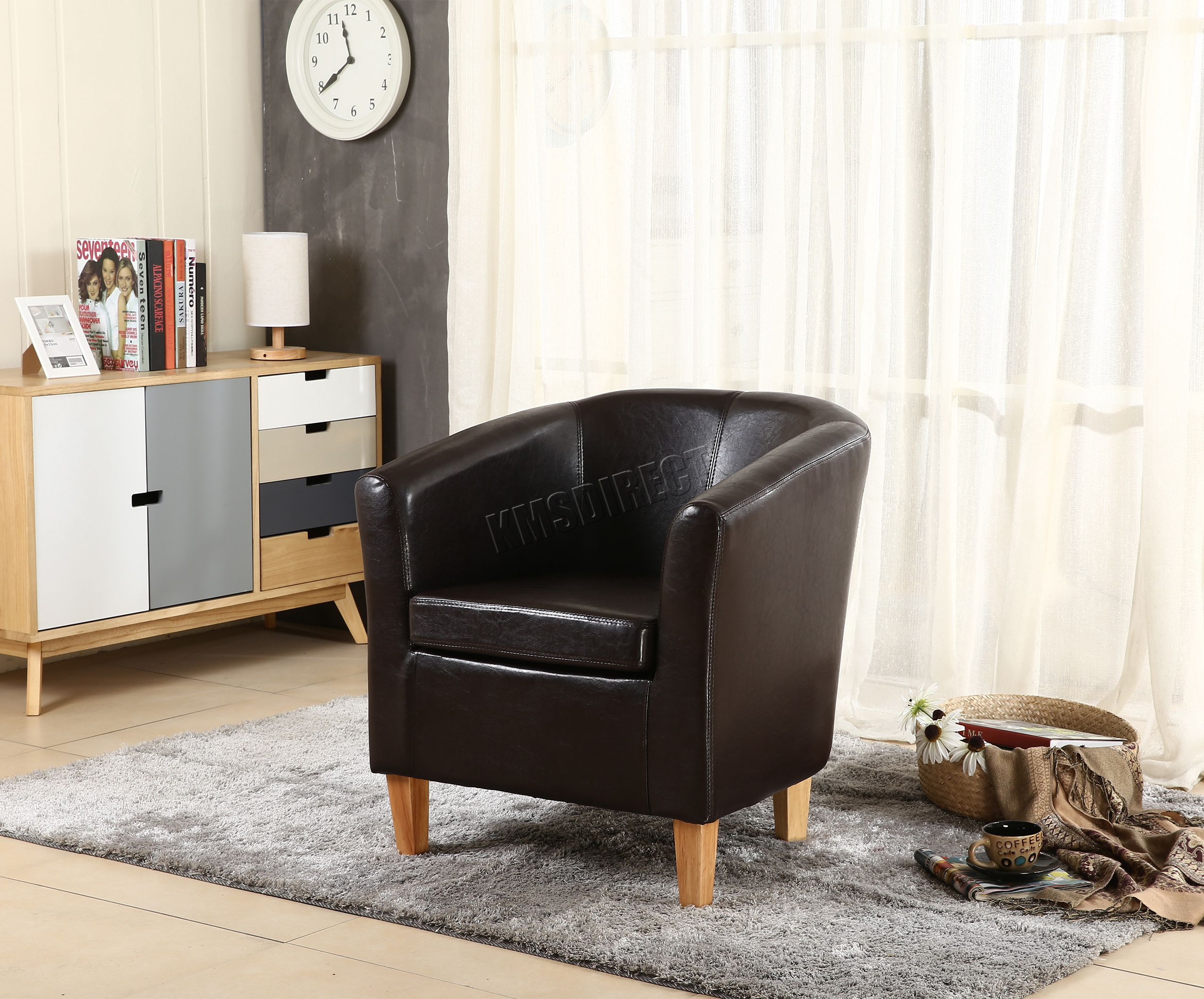 tub chair brown leather rocker glider chairs foxhunter faux armchair dining