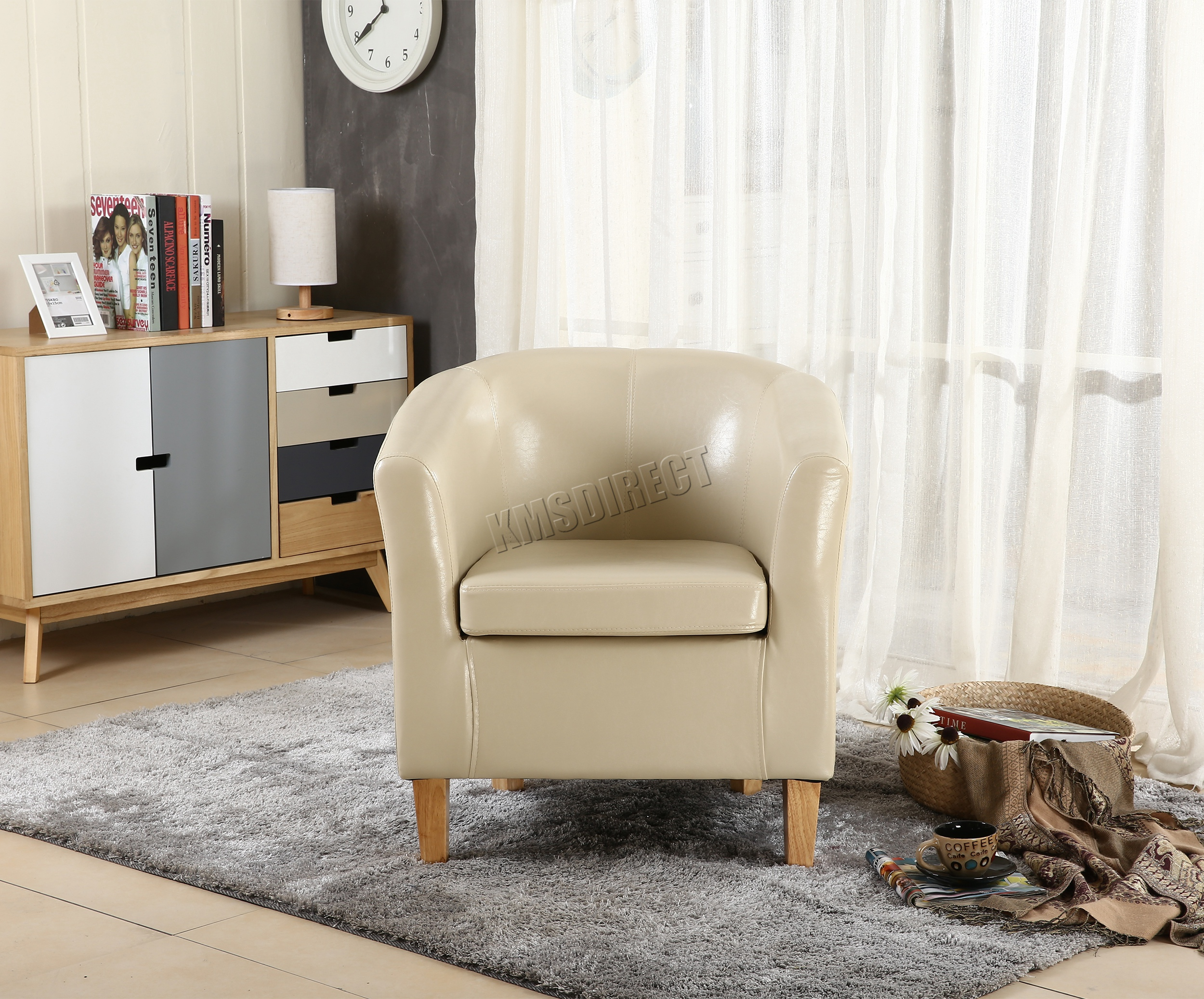 ivory leather office chair handmade wood foxhunter faux tub armchair dining