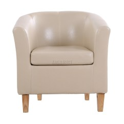 Ivory Leather Office Chair Bedroom Makeup Foxhunter Faux Tub Armchair Dining