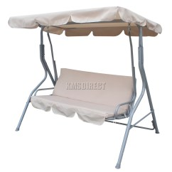 Swing Chair Metal Revolving With Headrest Foxhunter Beige Garden Hammock 3 Seater