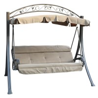 FoxHunter Garden Metal Swing Hammock 3 Seater Chair Bench ...