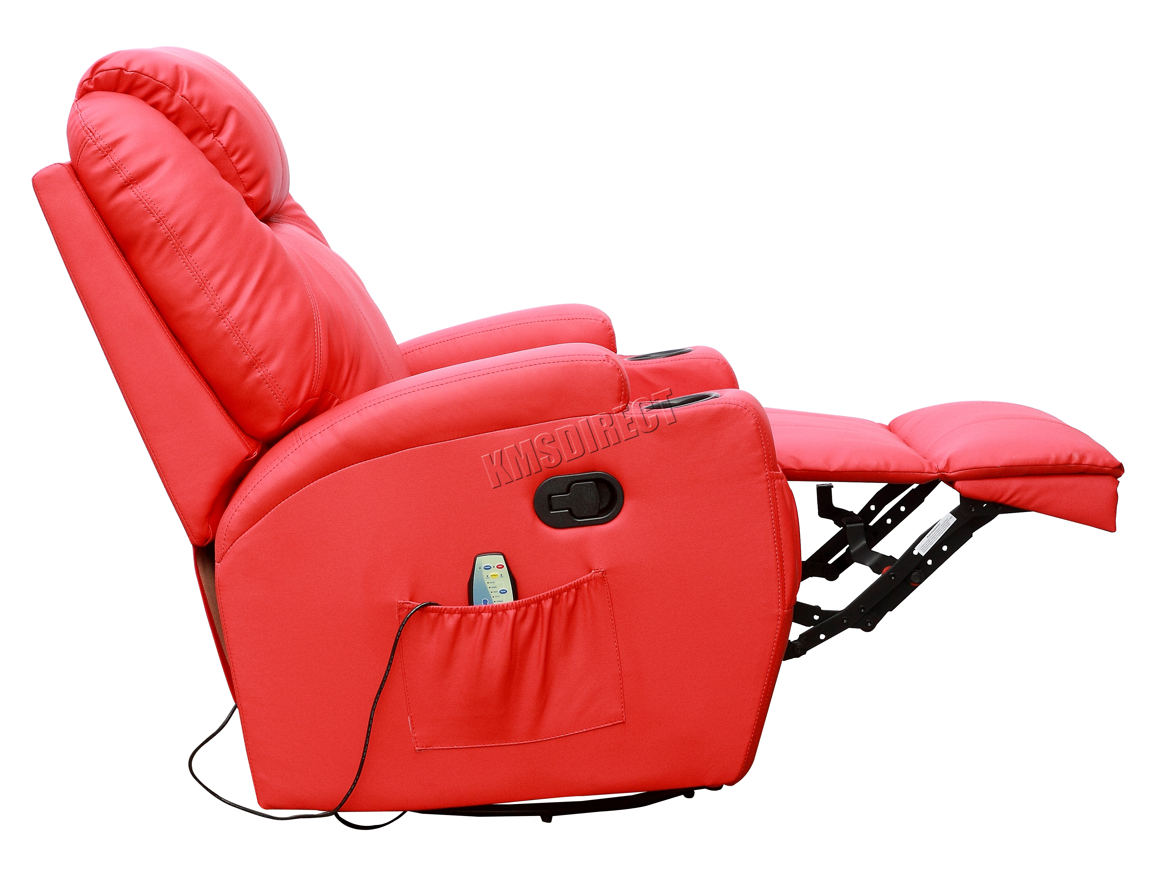 Electric Rocking Chair Foxhunter Red Bonded Leather Massage Cinema Recliner Sofa