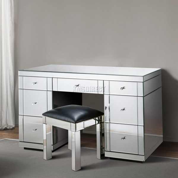 Foxhunter Mirrored Furniture Glass 7 Drawer Dressing Table