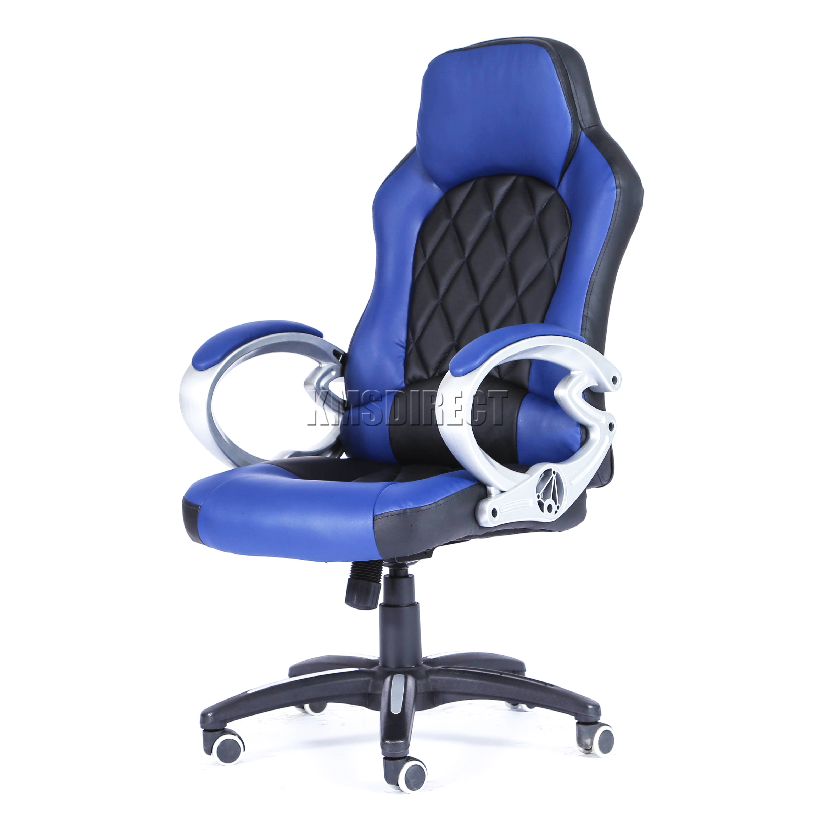 blue leather office chair lounge chairs for living room foxhunter computer executive pu