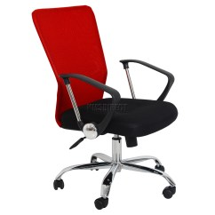 Red Swivel Desk Chair Windsor With Arms Foxhunter Computer Executive Office Mesh Fabric