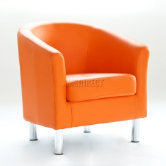 Orange Bucket Chair Church Chairs With Kneelers Foxhunter Modern Tub Armchair Pu Faux Leather Chrome