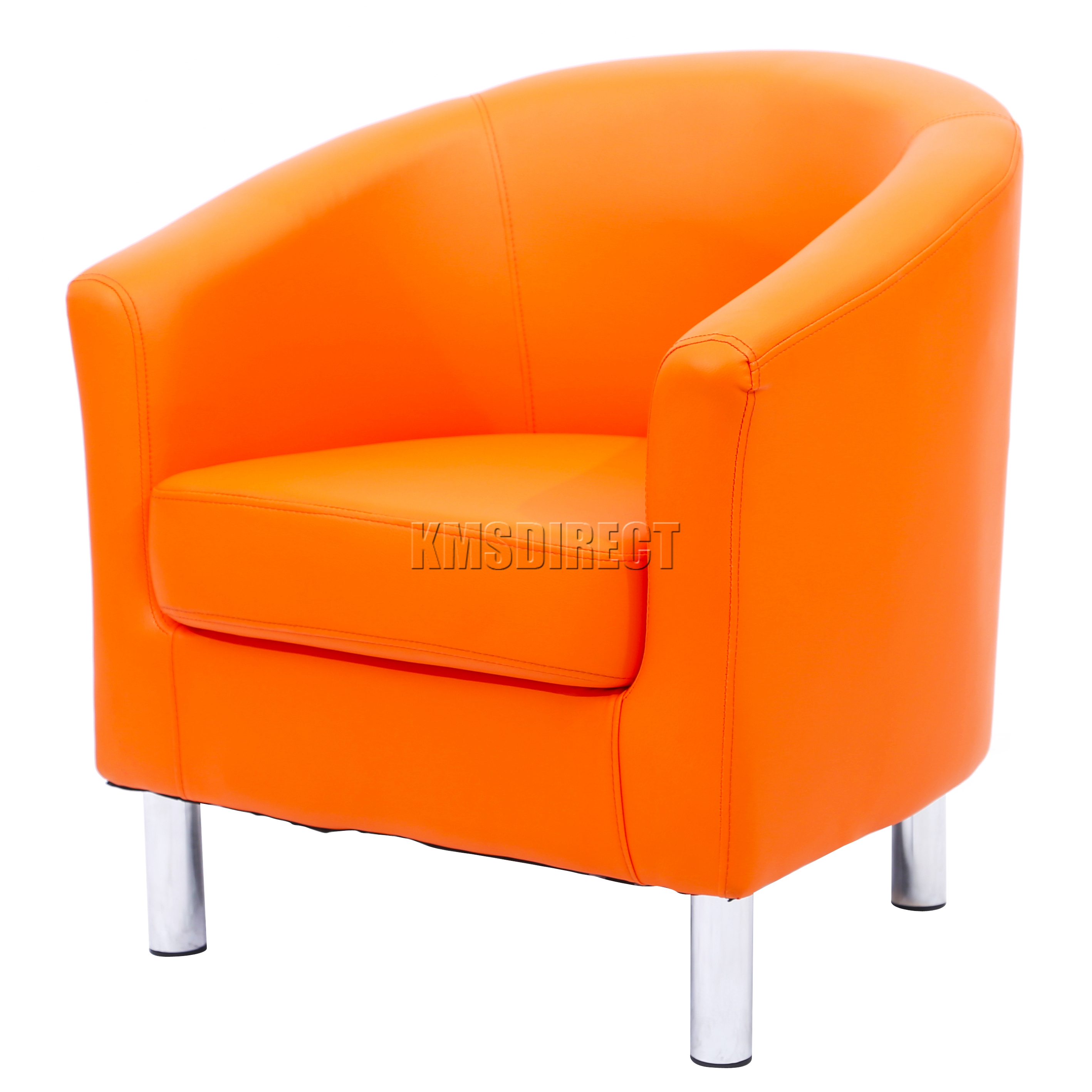 orange bucket chair extra wide rocking foxhunter modern tub armchair pu faux leather chrome