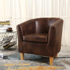 Tub Chair Brown Leather Electric Lift Aldi Foxhunter Vintage Faux Armchair